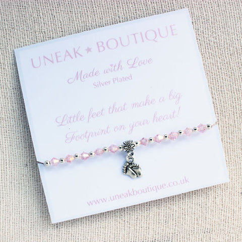 Little Footprints Pink Crystal Handmade Bracelet