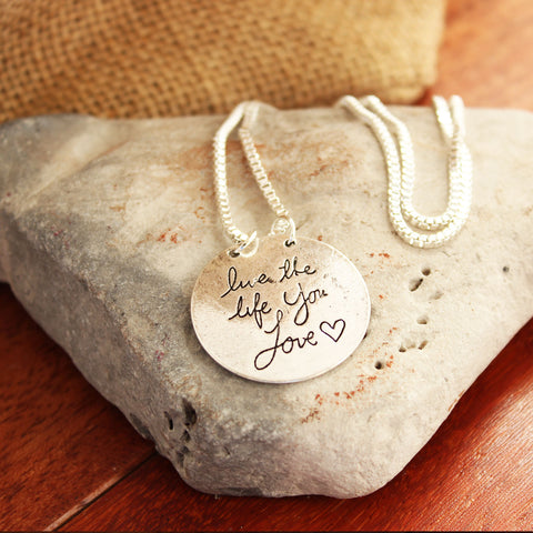 Live the Life You Love Silver Plated Pendant