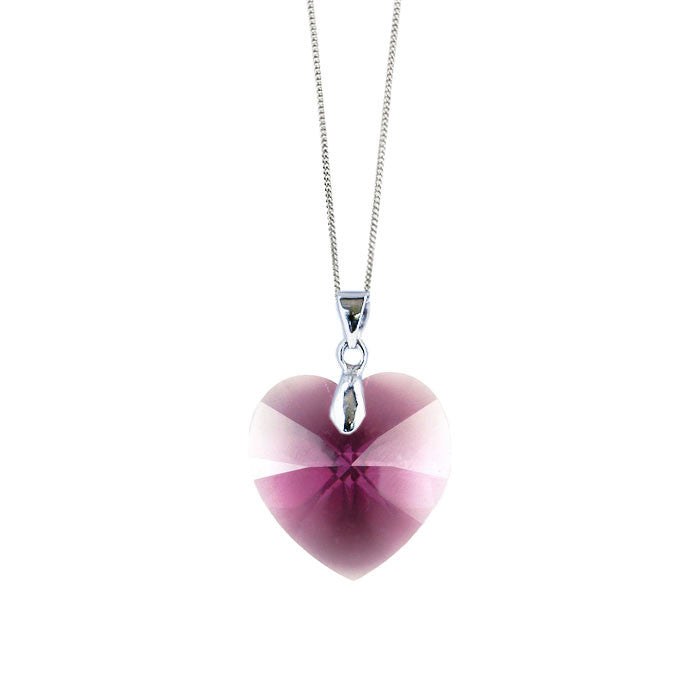 Amethyst Crystal Heart Handmade Necklace by Love Lily