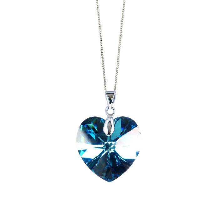 Love Lily Handmade Necklace with Bermuda Blue Crystal Heart