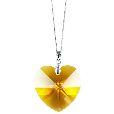 Sunflower Crystal Heart Handmade Necklace by Love Lily