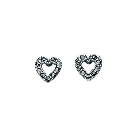Mini Open Heart Marcasite Earrings