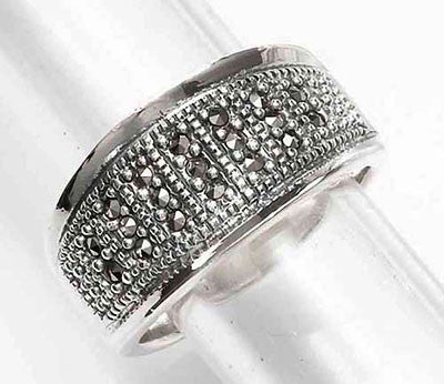 Silver Edge Marcasite Ring