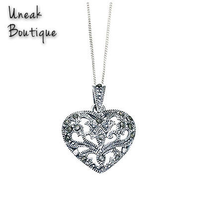 Buy silver hollow heart marcasite pendant for 3599 uneak boutique silver hollow heart marcasite pendant aloadofball Image collections