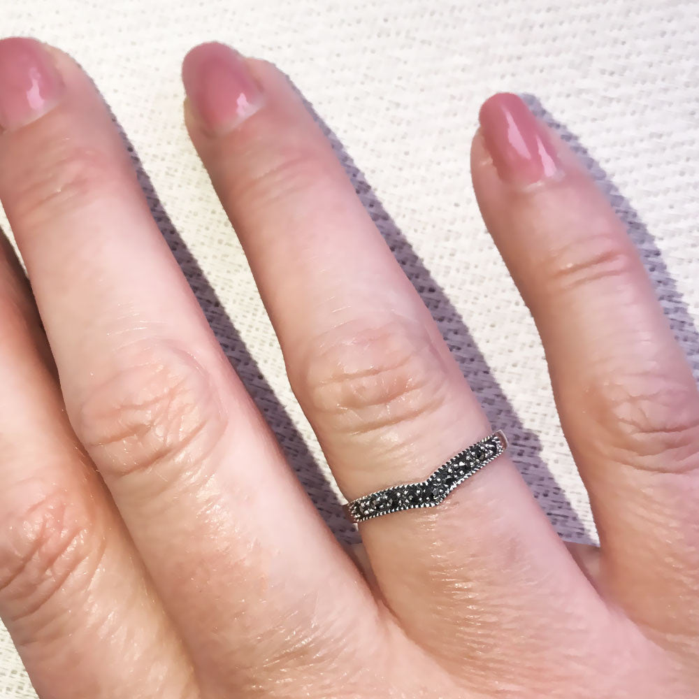 Buy Wishbone Marcasite Ring for £17.99 | Uneak Boutique