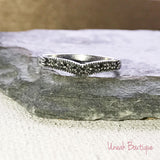 Sterling Silver Wishbone Marcasite Ring