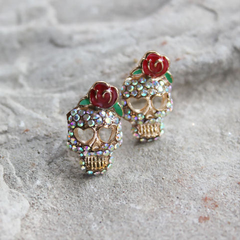 Mardi Gras Skull Earrings