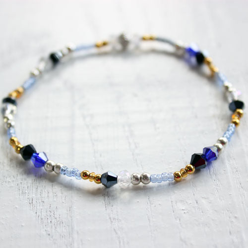 Midnight Silver Blue and Gold Beaded Bracelet