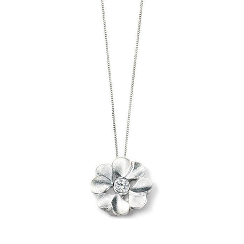 Mini Brushed Silver Flower Pendant with Cubic Zirconia