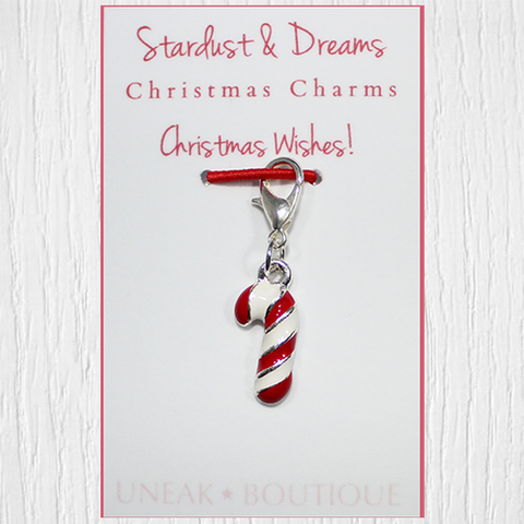 Mini Candy Cane Christmas Clip Charm