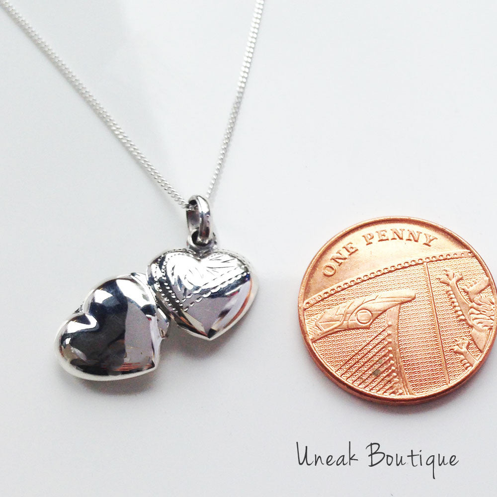 puffed silver engravable sterling heart lockets plain engraved locket small