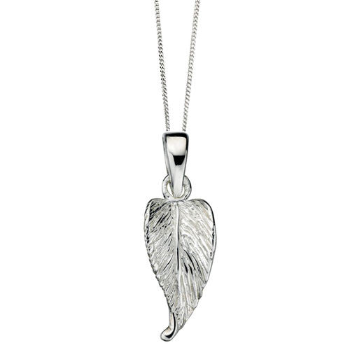 Sterling Silver Mini Etched Leaf Pendant