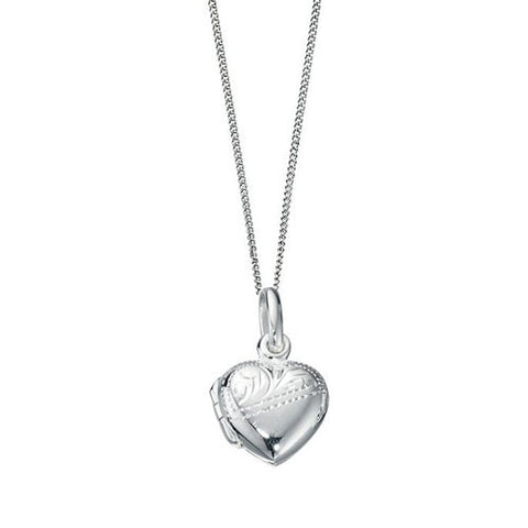 Mini Silver Engraved Children's Heart Locket