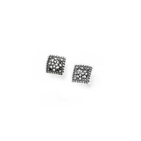 Mini Square Marcasite Earrings