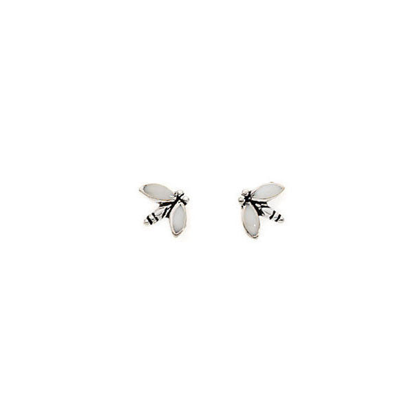 White Enamel Dragonfly Silver Stud Earrings