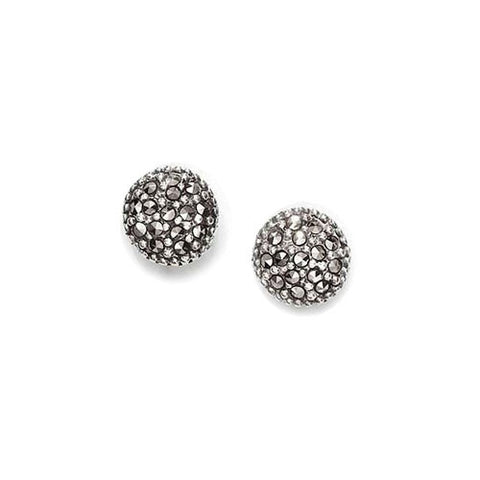 Moon Marcasite Earrings in Sterling Silver