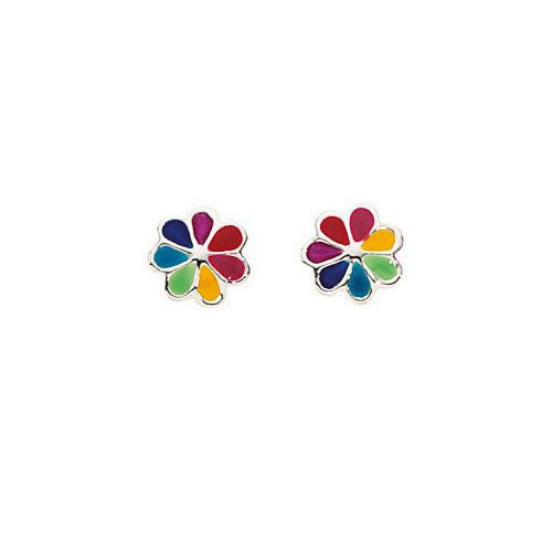 Multi-Coloured Silver Daisy Stud Earrings