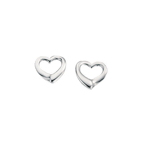 Small Open Silver Heart Earrings
