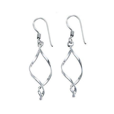 Open Twist Silver Earrings