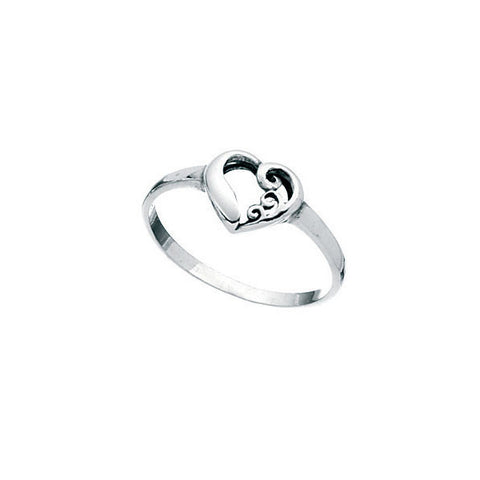 Swirl Heart Sterling Silver Kids Ring