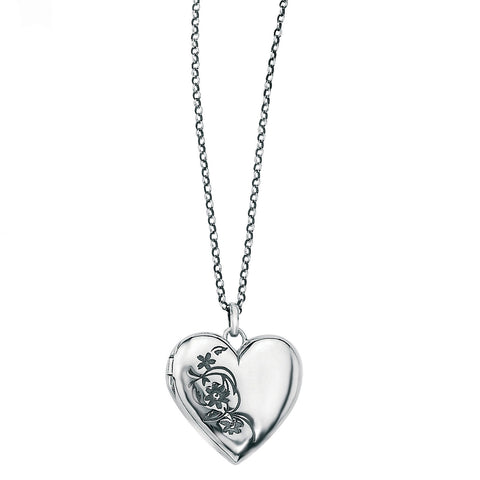 Meadow of Flowers Silver Heart Locket