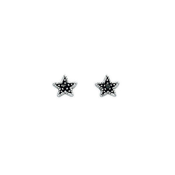 Oxidised Silver Star Stud Earrings