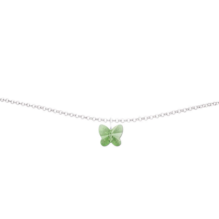Peridot Crystal Butterfly Handmade Silver Anklet by Love Lily
