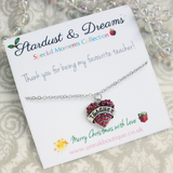 Favourite Teacher Pink Crystal Heart Necklace