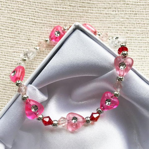 Pink Crystal Hearts Girls Bracelet