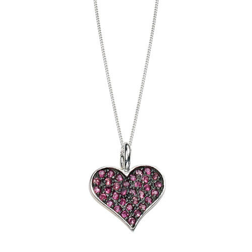 Pink Heart Pendant with Black Rhodium