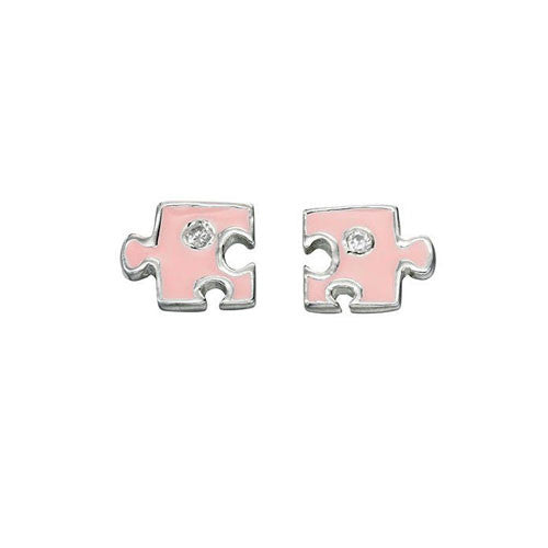 Pink Jigsaw Girls Earrings with Cubic Zirconia