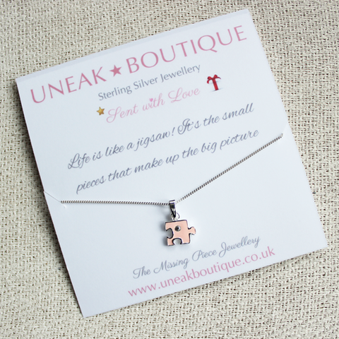Pink Jigsaw Pendant with Cubic Zirconia