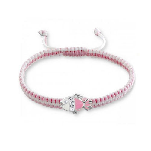 Pink and White Girls Bracelet with Pink Enamel Fish Charm