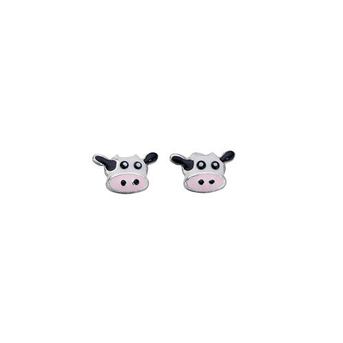 Sterling Silver Cow Stud Earrings