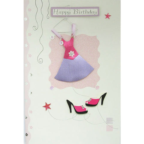 Pink Dress and Shoes Happy Birthday Card