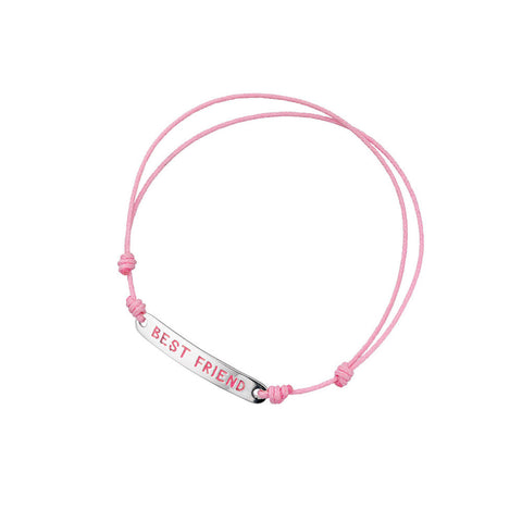 Kids Silver and Pink Cord Best Friend Bracelet