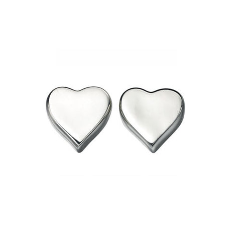 Polished Silver Stud Heart Earrings