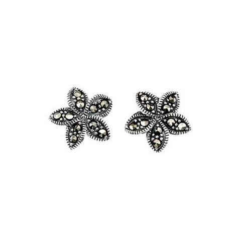 Plumeria Flower Marcasite Earrings