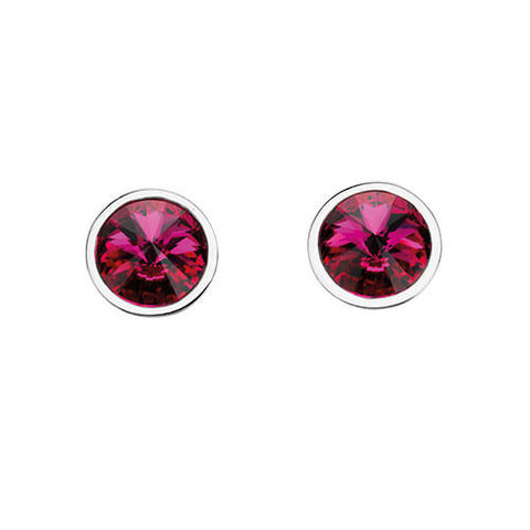 Round Fuchsia Crystal Earrings