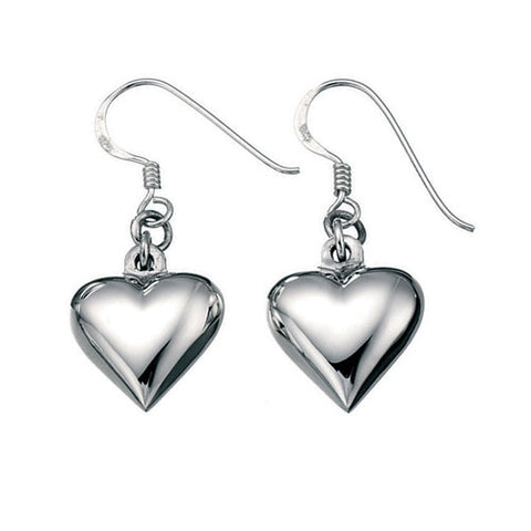 Puffed Silver Heart Earrings