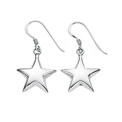 Sterling Silver Puffed Star Earrings