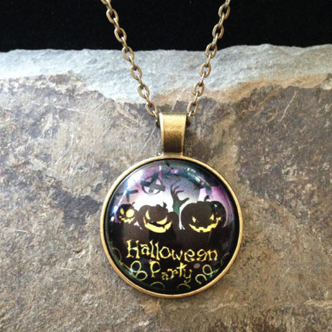 Cabochon Pumpkin Party Halloween Necklace