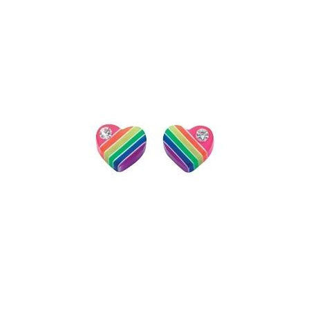 Rainbow Crystal Heart Stud Earrings
