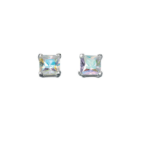 Aurora Rainbow Square Cubic Zirconia Stud Earrings