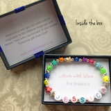 Rainbow Bead Girls Name Bracelet