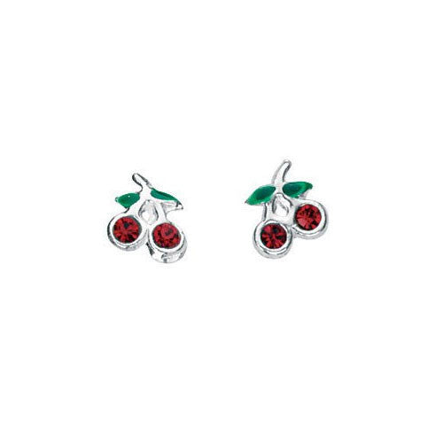 Red Crystal Cherry Stud Earrings
