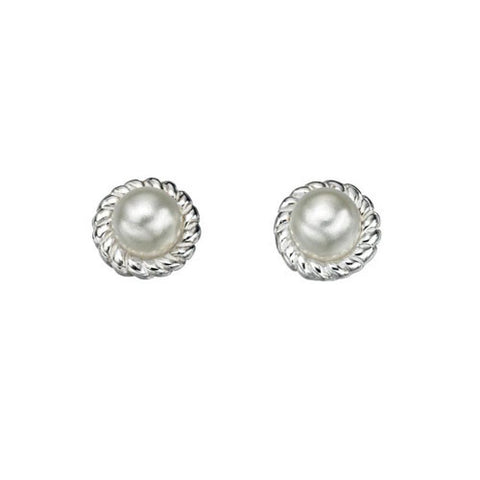 Rope Edge Silver Solitaire Pearl Stud Earrings