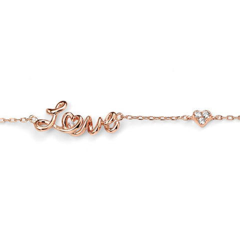 Rose Gold Love Bracelet with Cubic Zirconia Heart