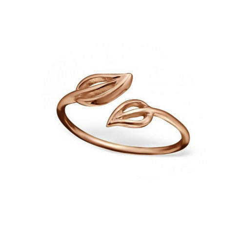 Double Leaf Rose Gold Toe Ring