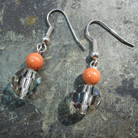 Round Crystal and Coral Pearl Handmade Earrings by Love Lily